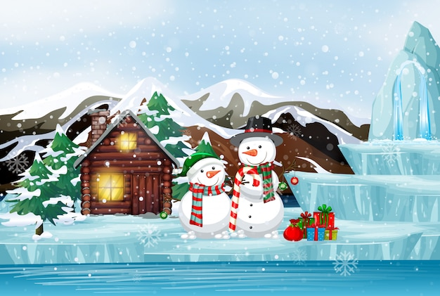 Escena con muñeco de nieve y presente en invierno