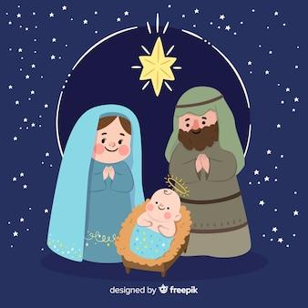 Escena de nacimiento navideño dibujada a mano