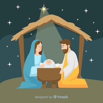 Escena de nacimiento navideño en diseño plano