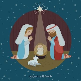 Escena de nacimiento navideño