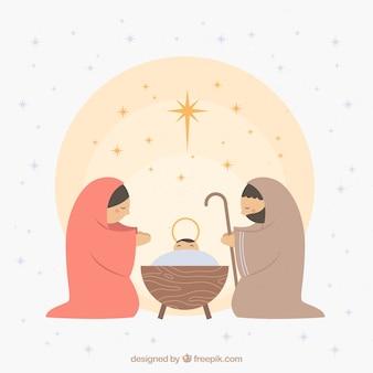 Escena de natividad dibujada a mano
