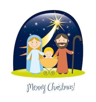 Escena de la natividad con la ilustración de vector de estrellas tarjeta de navidad