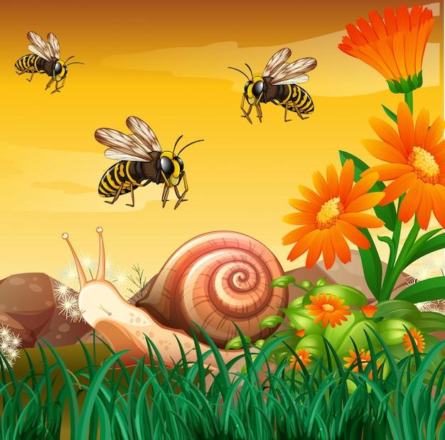 Escena de la naturaleza con abejas y caracol