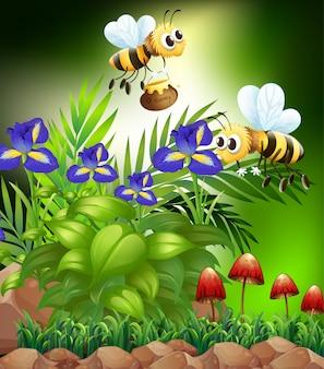Escena de la naturaleza con abejas y flores.