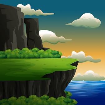 Escena de la naturaleza con alto acantilado frente al mar Vector Premium