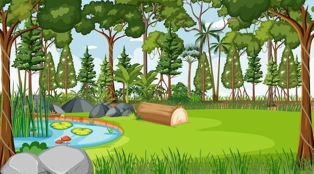 Escena de la naturaleza del bosque con estanque y muchos árboles durante el día.