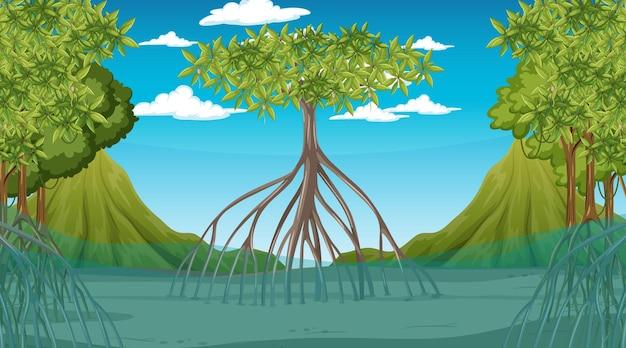 Escena de la naturaleza con bosque de manglares durante el día en estilo de dibujos animados