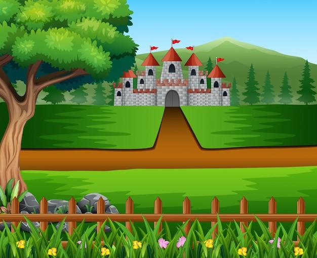 Escena de la naturaleza con camino al castillo.