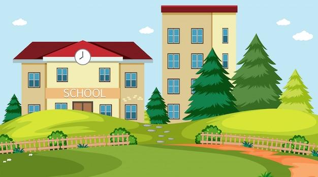 Escena de la naturaleza del edificio de la escuela