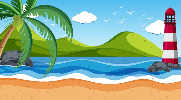Escena de la naturaleza con faro a la orilla