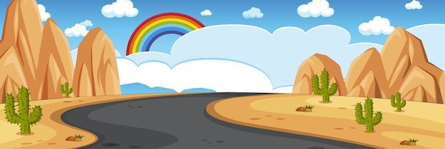 Escena de la naturaleza del horizonte o campo del paisaje con vista al desierto y arco iris en el cielo en blanco durante el día