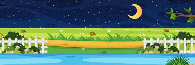 Escena de la naturaleza del horizonte o campo del paisaje con vista al río del parque y la luna en el cielo por la noche