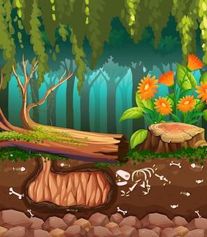 Escena de la naturaleza con huesos de animales bajo tierra