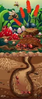 Escena de la naturaleza con laberinto de hormigas y flores