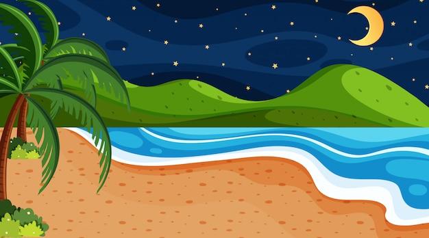 Escena de la naturaleza con mar de noche