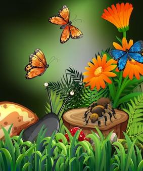 Escena de la naturaleza con mariposas y arañas en el jardín.