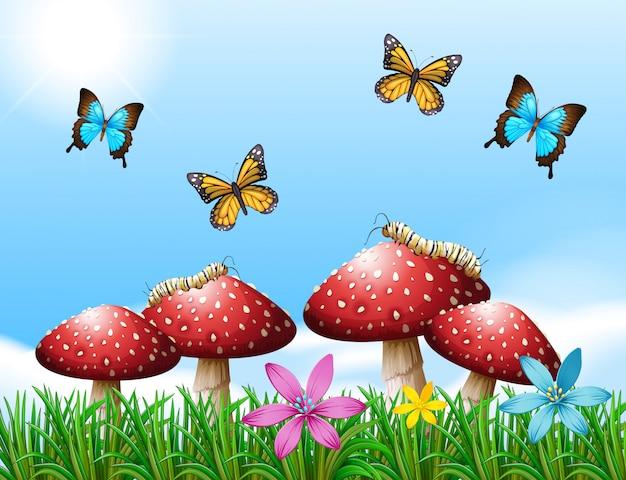 Escena de la naturaleza con mariposas en el jardín