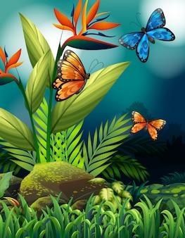 Escena de la naturaleza con mariposas monarca en la noche