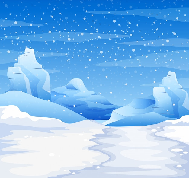 Escena de la naturaleza con nieve cayendo sobre la tierra