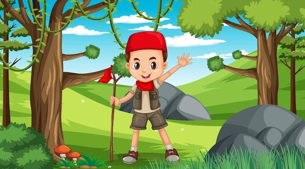 Escena de la naturaleza con niños musulmanes explorando en el bosque.