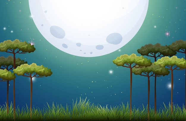 Escena de la naturaleza en la noche de luna llena.