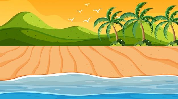 Escena de la naturaleza con el océano al atardecer