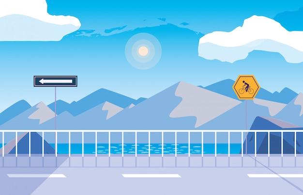 Escena de la naturaleza del paisaje nevado con señalización para ciclista