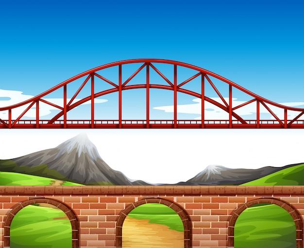 Escena de la naturaleza con puente y muro.
