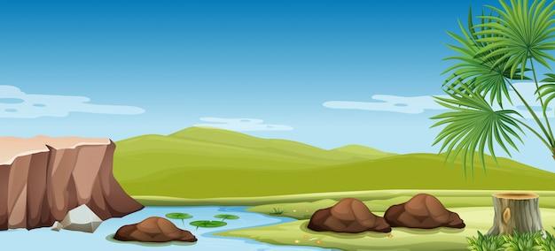 Escena de la naturaleza del río y el campo.