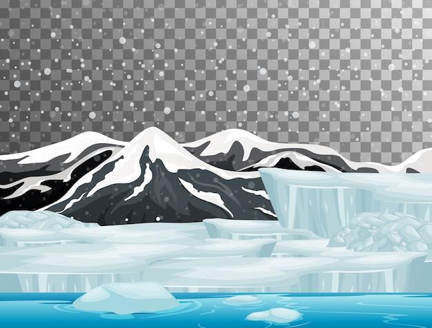 Escena de la naturaleza en el tema de la temporada de invierno con fondo transparente