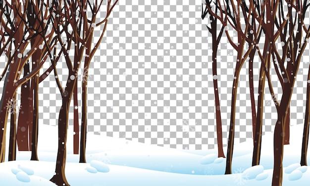 Escena de la naturaleza en el tema de la temporada de invierno con transparente.