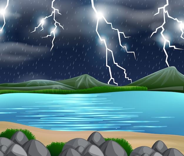 Una escena de la naturaleza de la tormenta.