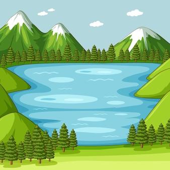 Escena de naturaleza verde vacía con lago
