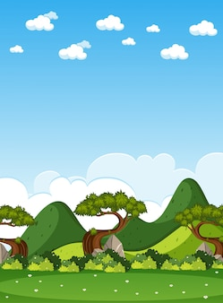Escena de la naturaleza vertical o paisaje de campo con vista al bosque y cielo en blanco durante el día
