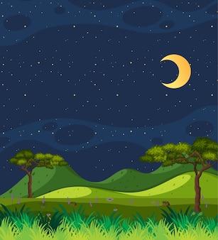 Escena de la naturaleza vertical o paisaje de campo con vista al bosque y cielo en blanco por la noche