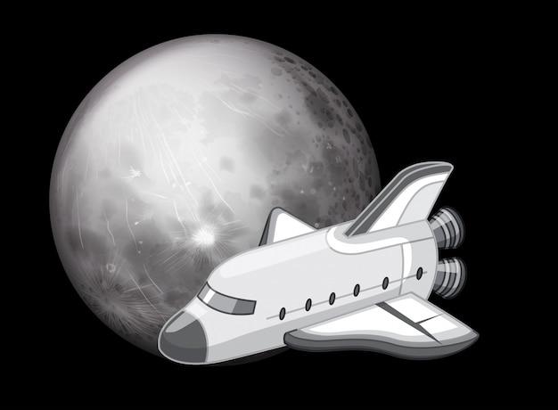 Escena de la nave espacial en blanco y negro
