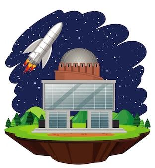 Escena con nave espacial volando en el cielo por la noche