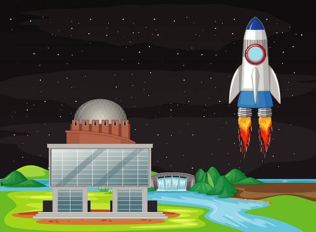 Escena con nave espacial volando en el cielo