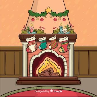 Escena navidad chimenea dibujos animados
