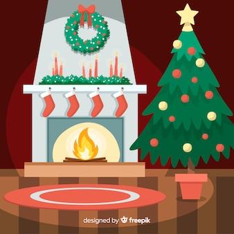 Escena navidad chimenea fuego plano
