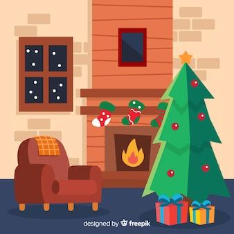 Escena navidad chimenea sillón dibujado a mano