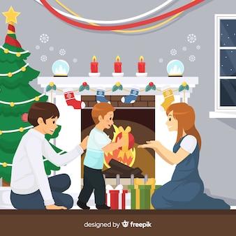 Escena navidad familia feliz
