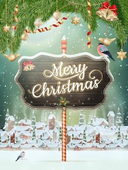 Escena de navidad, nevadas cubierto pequeño pueblo con árboles.