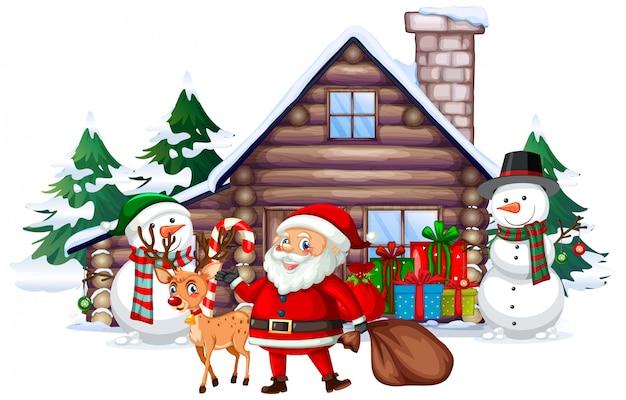 Escena de navidad con santa y muñeco de nieve