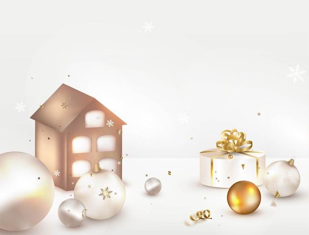 Escena navidad vacaciones decorativa casa de jengibre