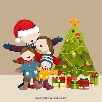 Escena navideña familiar cantando juntos