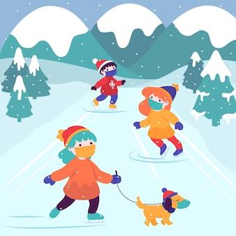 Escena navideña con gente patinando sobre hielo y con máscaras.