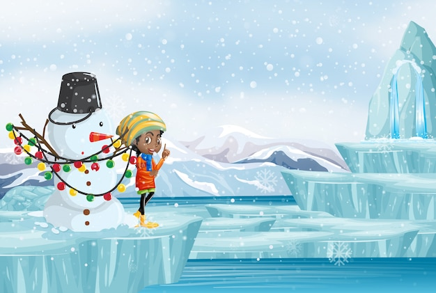 Escena navideña con niña y muñeco de nieve