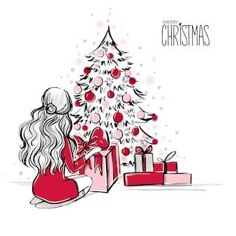 Escena navideña con regalos