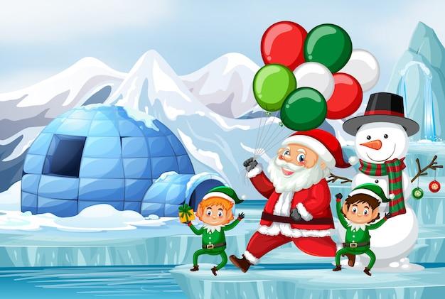 Escena navideña con santa y elfos
